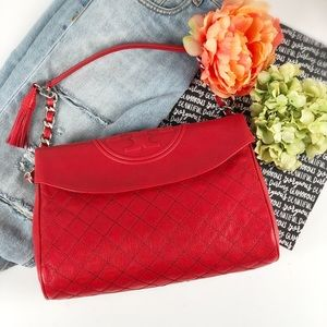 Tory Burch Fleming leather foldover hobo handbag